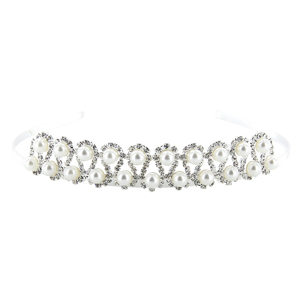 Wedding Party Bridal Bridesmaid Flower Girl Double Pearl Crystal Crown Headband Tiara Phenovo