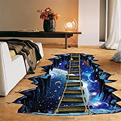 LtrottedJ 3D Star Series Floor Wall Sticker, Removable Mural Decals Vinyl Art Room Decor