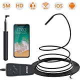 Wireless Endoscope,ROTEK 1080P WiFi Inspection Camera 2.0MP HD IP68 Waterproof Borescope Semi-rigid Snake Camera with 8 LED Lights for iPhone iPad Samsung Android Phone, Tablet – 16.5FT