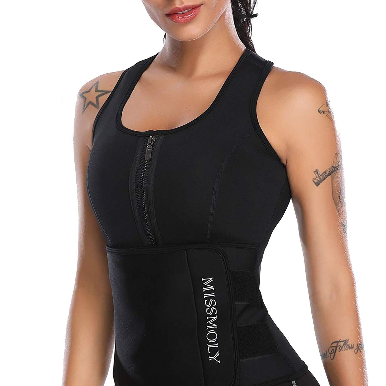 SLIMBELLE Neoprene Sauna Suit Workout Tank Top Vest with Adjustable Waist Trainer Belt-Black-M by SLIMBELLE