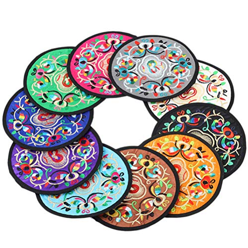 VORCOOL 8pcs Embroidered Cup Coaster Round Washable Brocade Mug Coaster Chinese Style Heat Insulation Pad for Drinks(Assorted ()