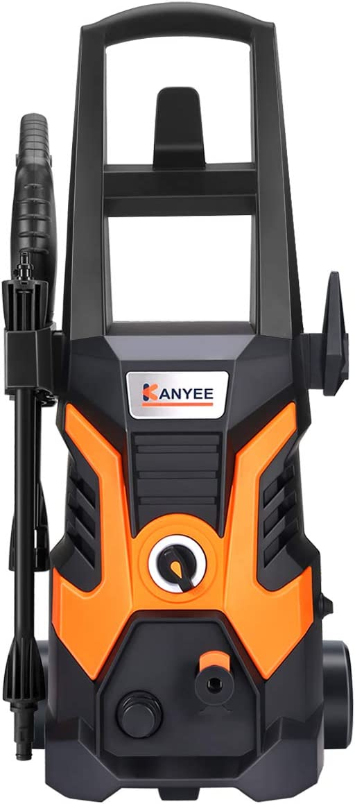 KANYEE 1900 PSI 1.35 GPM Electric High Pressure Washer Machine with Spray Gun, Adjustable Nozzle, Angle Nozzle, Wash Brush, Detergent Bottle, Houses Deck Patio Car Cleaner
