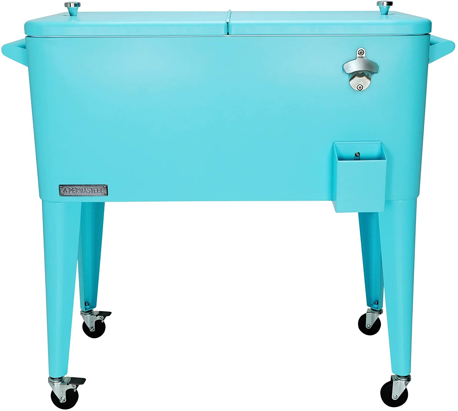 Permasteel PS-203-TURQ-AM 80 Quart Portable Rolling Patio Cooler, Turquoise