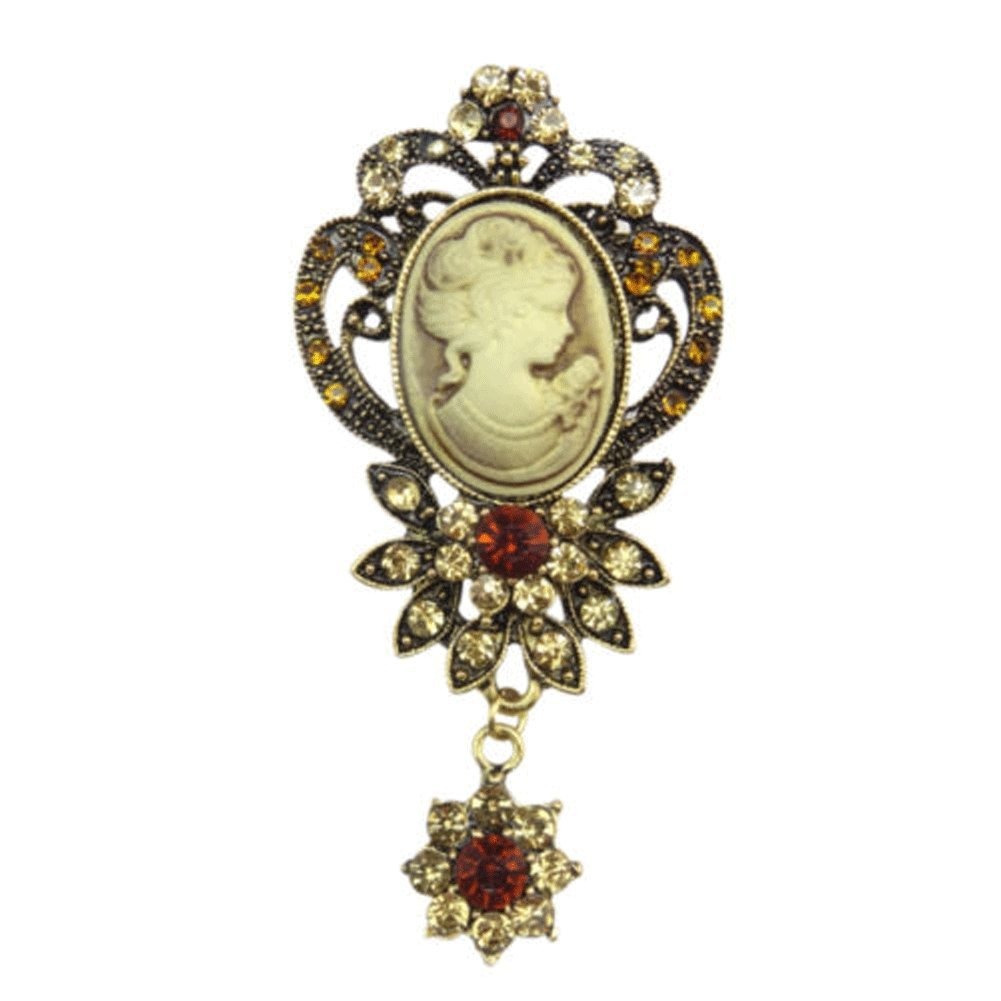 TOOKY Vintage Crystal Resin Cameo Queen Lady's Brooch Jewelry For Wedding kYAGhN1U