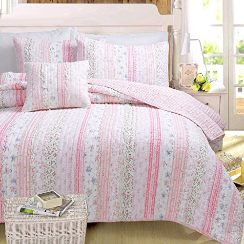 Rose Queen Quilt (Cozy Line Home Fashions Pink Rose Romantic Chic Lace Floral Flower Printed 3D Stripe Cotton Bedding Quilt Set Reversible Coverlet Bedspread Christmas Gifts for Girls Women (Queen - 3 piece))