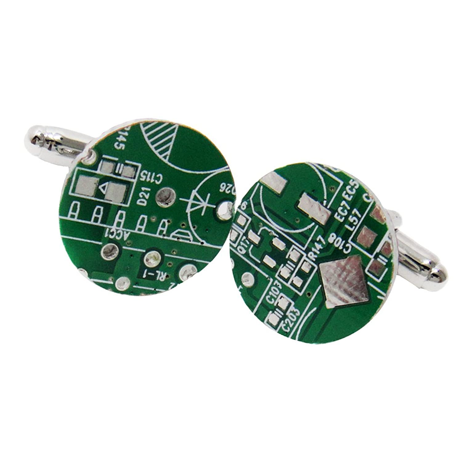 Dovewill Classic Silver Tone Round Cuff Links Green Circuit Board Cufflinks Computer For Men 16mm Jewelry