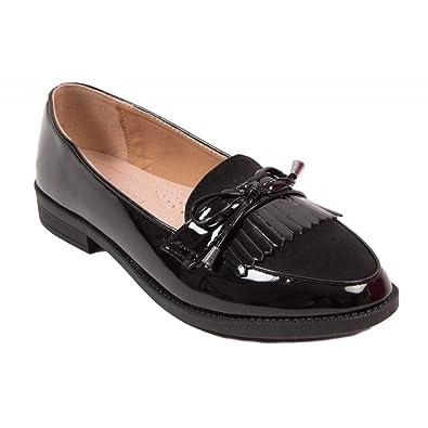 Mocassins Femme Vernis Noir ou Gris à Franges Bouts Pointus Semelle  intérieure cuir-36 2c12f296b7d0