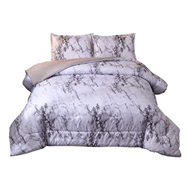NTBED Marble Comforter Set Queen with 2 Matching Pillow Covers Lightweight Printed Quilted Microfiber Bedding Sets (Marble, Queen)