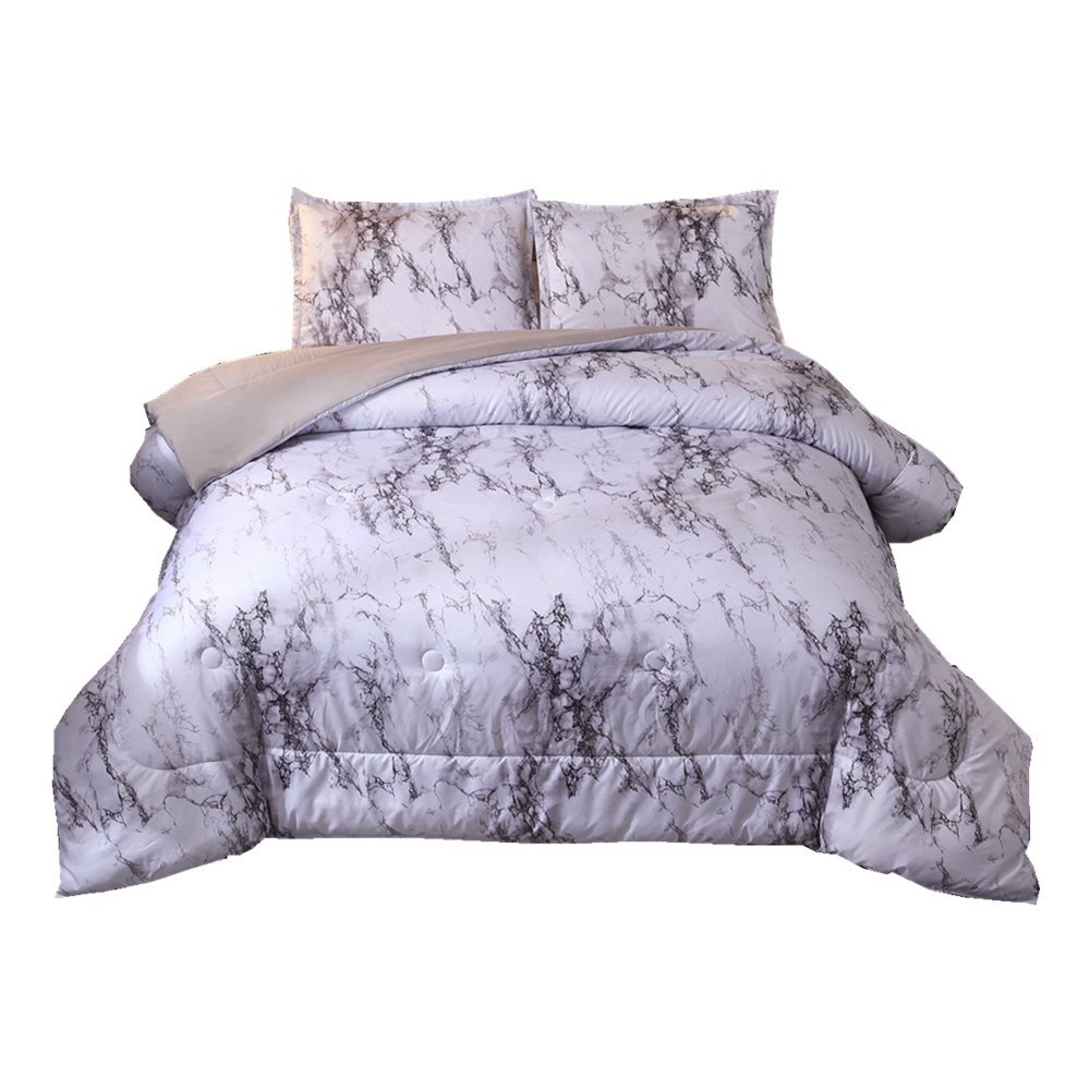 NTBED Marble Comforter Set Queen, Brushed Quilt Bedding Sets (Marble, Queen)