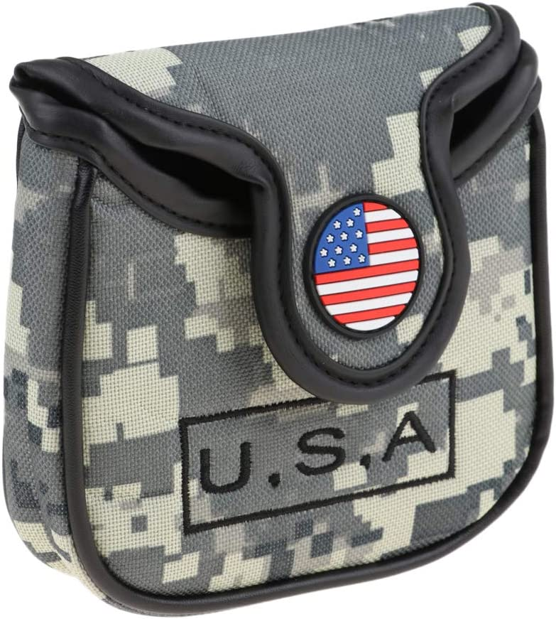 SM SunniMix USA American National Flag Golf Square Mallet Putter Head Cover Headcover Equipment Gift for Golf Lover 61-AoBXngGL