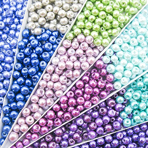 TOAOB 1000pcs 4mm Glass Pearl Beads Round Multi Colors Loose Beads for Handmade