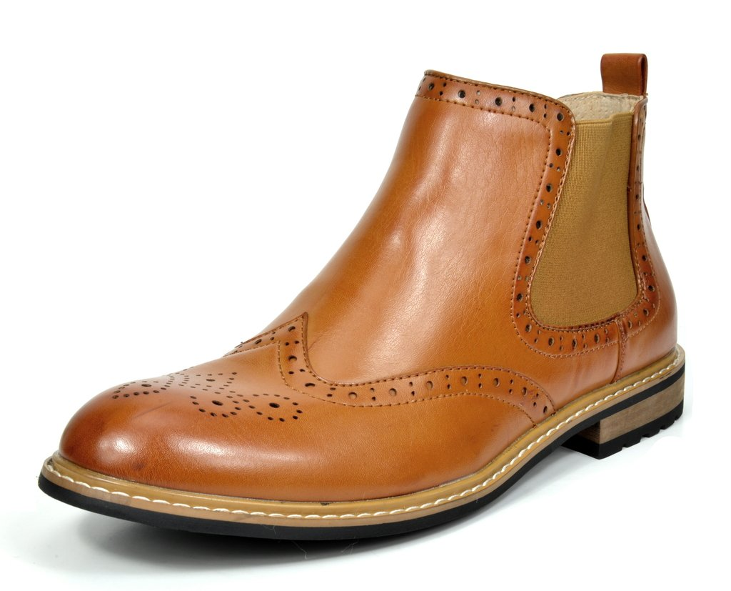 BRUNO MARC NEW YORK Bruno Marc Men's Bergen-05 Brown Leather Lined Chelsea Dress Ankle Boots Size 10.5 M US by BRUNO MARC NEW YORK
