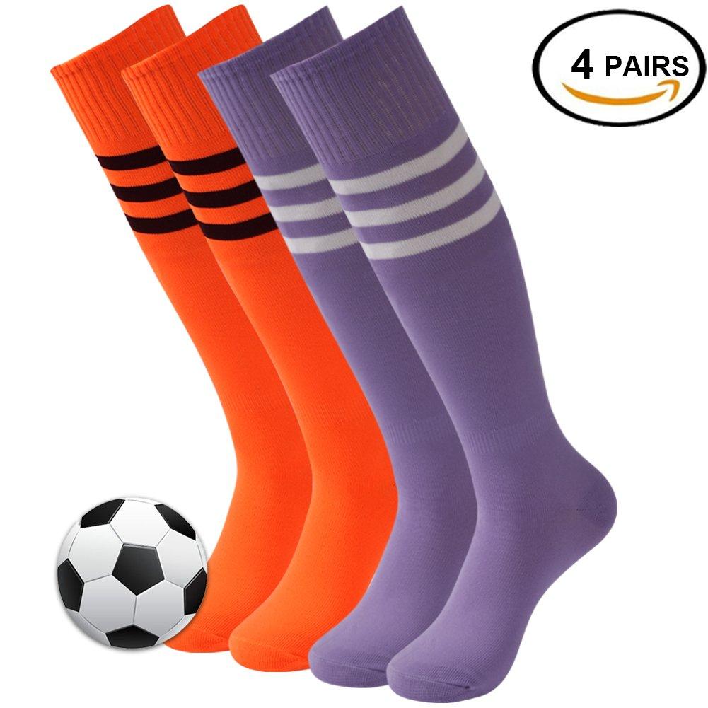 3streetユニセックスニーハイ/ Over Calfトリプルストライプアスレチックチューブソックス3 – 12ペア B077PN3DTV 02#4 Pairs Orange+Medium Purple 02#4 Pairs Orange+Medium Purple