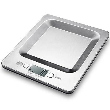 HABOR Báscula Digital de Cocina, Báscula de Plataforma Plato Cóncava de Acero Inoxidable, Báscula de Cocina de Alta Precisión con Función Cero/Tara, ...