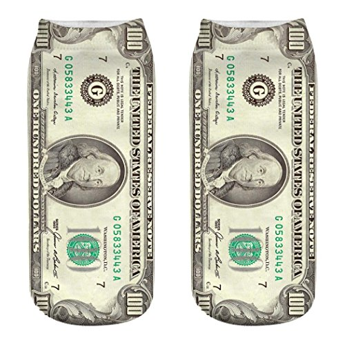 Dollar bill Pattern 3D Printed Socks By Ugood (A) ()