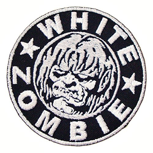 Embroidered White Large T-shirt - WHITE ZOMBIE Heavy Metal Band t shirts MW05 Embroidered Iron on Patches