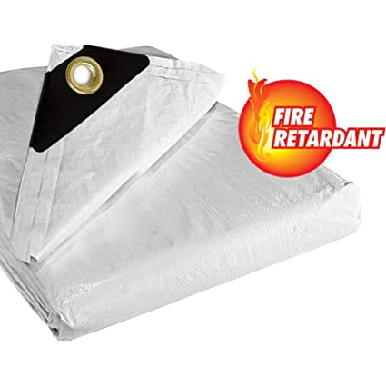 Fire Retardant Construction Tarp, 10x10 Weave, 15' x 20