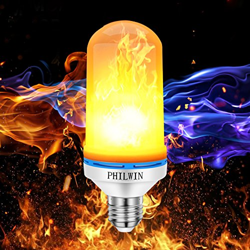 PHILWIN Flicker Bulbs, E26 Flame Bulbs, LED Fire Light Bulb with Upside Down Effect, Atmosphere Night Lighting for Home, Party, Bar, Holiday Hotel, Christmas ()