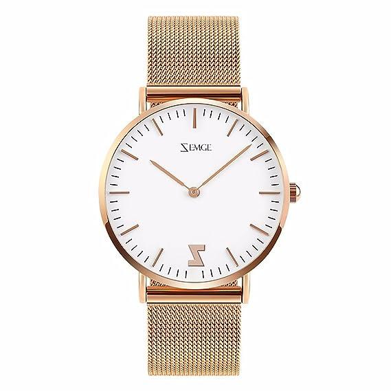 3c5556ab902b zemge 40MM mujeres relojes Ultra Thin Cuarzo Analógico resistente al agua  reloj de pulsera unisex Business Casual simple diseño clásico vestido rosa  tono DW ...