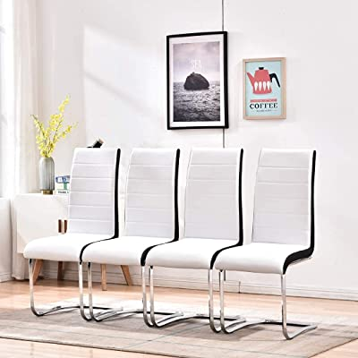 Buy Dining Chairs Set Of 4 Modern Indoor Kitchen Chairs Sturdy Chrome Chair Legs And Faux Leather Ergonomic Design Dining Room Chairs With High Back Soft Padded For Home Kitchen Apartment 4 White Chairs Online In