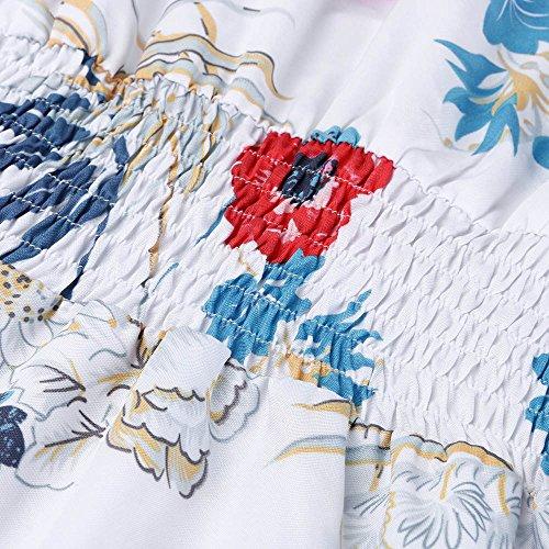 Estivi Senza Dress Donna Maniche Floreale Lunghi Vestito Maxi Bianco Bluestercool Abiti zw7YzE