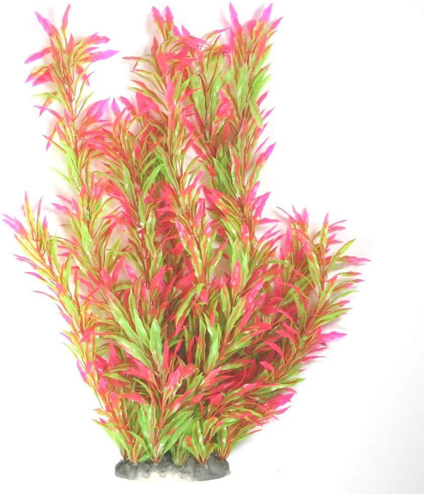 """Aquapapa Aquarium Plants Fish Tank Decorations Ornament Plastic Artificial Plant (Red/Green - 15"""" h)"""
