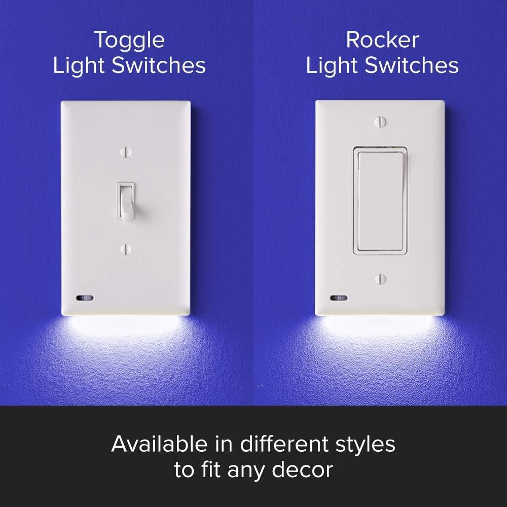 Amazon Com Single Snappower Switchlight Led Night Light For Single Pole Light Switches Light Switch Plate With Led Night Lights Adjust Brightness Auto On Off Sensor Toggle White Home Improvement