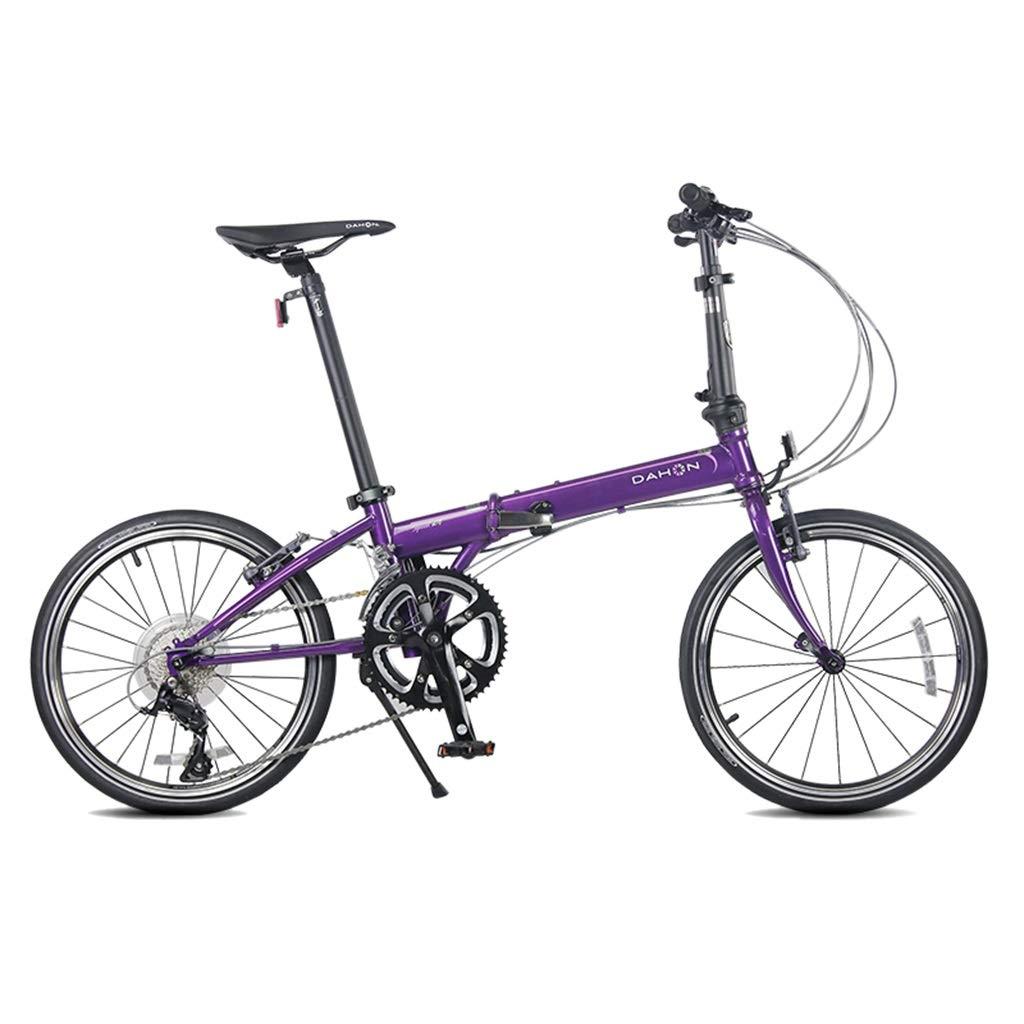 折りたたみ自転車 自転車折りたたみ自転車ユニセックス20インチホイール道路折りたたみ自転車超軽量トラベルシティポータブル自転車 (Color : Purple, Size : 150*32*107cm) 150*32*107cm Purple B07S4CHSM1