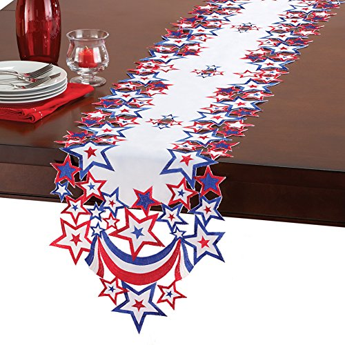 Collections 4th of July Indoor Decoration Table Linens with Embroidered Patriotic Stars, -