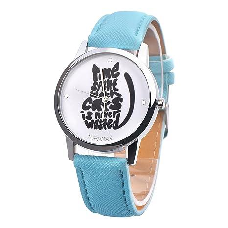 Reloj de pulsera para mujer de Ronamick, con letras y gatos ...