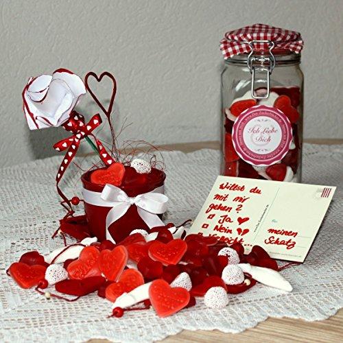 Liebesglas 1120g Süßigkeiten-Mix Fruchtgummi und Schaumzucker, Geschenk zum Jahrestag oder Valentinstag