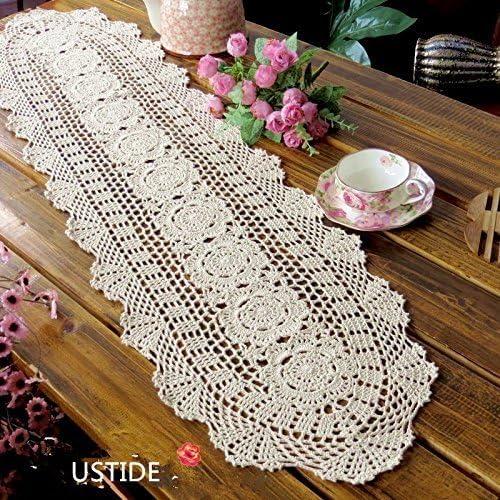 ustide Floral Mano Crochet Manteles Mesa Blondas Algodón de encaje ...