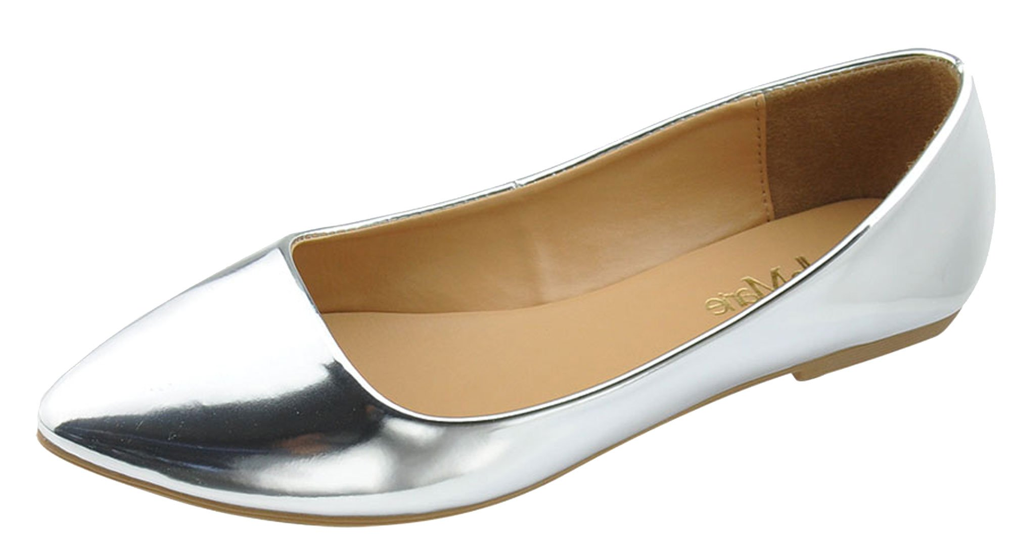 Bella Marie Womens Pointy Toe Slip On Classic Ballet Flat Flats-Shoes,7 B(M) US,Silver
