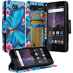 ZTE Majesty Pro Case, ZTE Tempo Case, Luxury PU Wrist Strap Leather Wallet Flip Protective Case Cover with Card Slots and Stand for ZTE Majesty Pro Z799VL / ZTE Tempo N9131 - (Blue Butterfly)