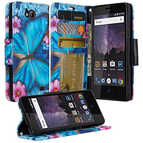 GW Cases Compatible for ZTE Majesty Pro Case, ZTE Majesty Pro Plus Case, Wrist Strap Folio [Kickstand] Pu Leather Wallet Case with ID&Credit Card Slot for For ZTE Majesty Pro Z799VL - Blue Butterfly