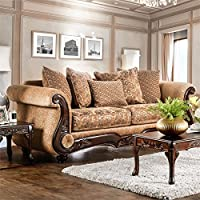 Furniture of America Rhodes Traditional Sofa in Gold and Bronze