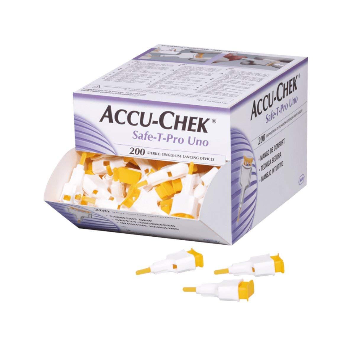 AccuChek SAFE-T PRO UNO 200 Lancets (Single Use Disposal Most Hygenic Lancets) (2 Pack - 200 Lancets)