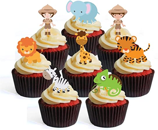Zoo Animals Lion Tiger Zebra Hippo edible cupcake Toppers Wafer or Icing x 12