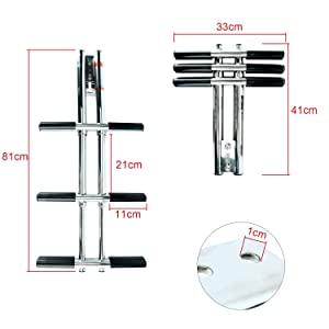 """DasMarine Heavy Duty 3 Steps Boat Marine Sport/Diver Ladder 316 Stainless Steel Dual Vertical Telescoping Tube with 2.5"""" Transom Mounting Extension Shim (3 Step Ladder)"""