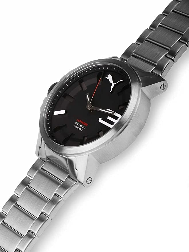 Puma Ultrasize 50 Bold - Reloj análogico de cuarzo con correa de acero inoxidable para hombre, color plata/negro: PU10391 Ultrasize 50 Bold - Metal silver: ...