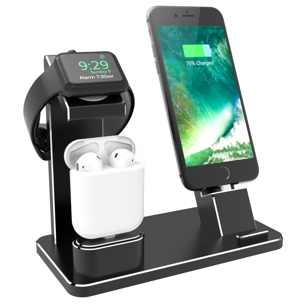 XUNMEJ Watch Stand for Apple Phone Charging Dock Aluminum 4 in 1 AirPods Charging Stand Accessories Station Holder for Apple Watch 4 3 2 1 AirPods Phone Xs X Max XR 7 7plus iPad Mini (Black) by XUNMEJ