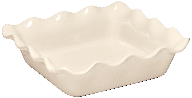 Emile Henry 91022087 Ruffled Square Baker 24cm/9.5-Inch 1.7L/1.8qt, Argile EH022087