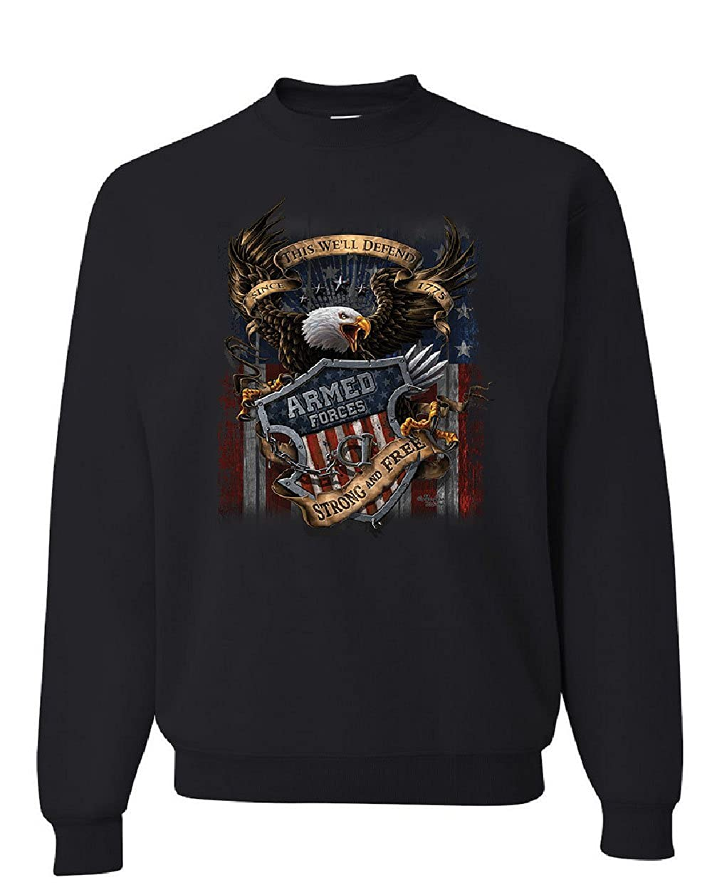 cheap for discount dd595 27bc7 Amazon.com: Armed Forces Bald Eagle Sweatshirt Army This We ...