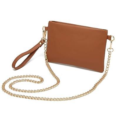 8a51c2710e3d5 DCCN Sac à bandoulière en PU pour femme, petit sac à bandoulière rétro Brown