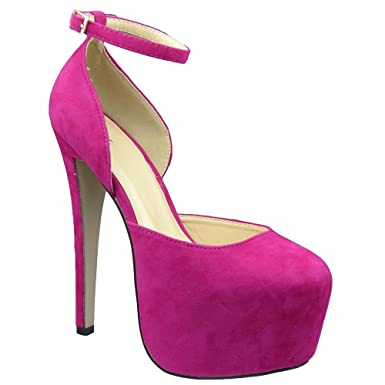 ba49ea308383 Image Unavailable. Image not available for. Color  Hot Pink Platform Pump  Womens Stiletto Heels ...