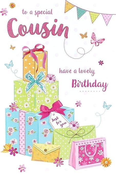 Cousin Tarjeta de cumpleaños - búho rosa, globos, flores y ...