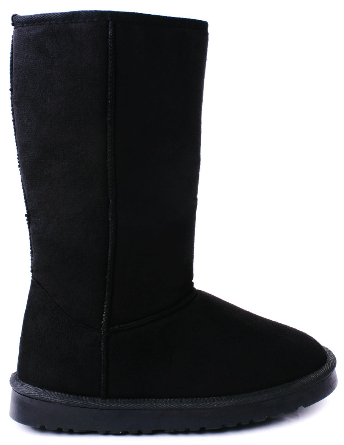 JJF Shoes House Black Faux Suede/Fur Lined Mid Calf Shearling Winter Snow Boots-6