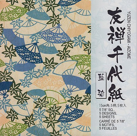Blue Chiyogami Paper (Aitoh Origami Paper, 5.875 by 5.875-Inch, Aizome Blue Yuzen, 5-Pack)