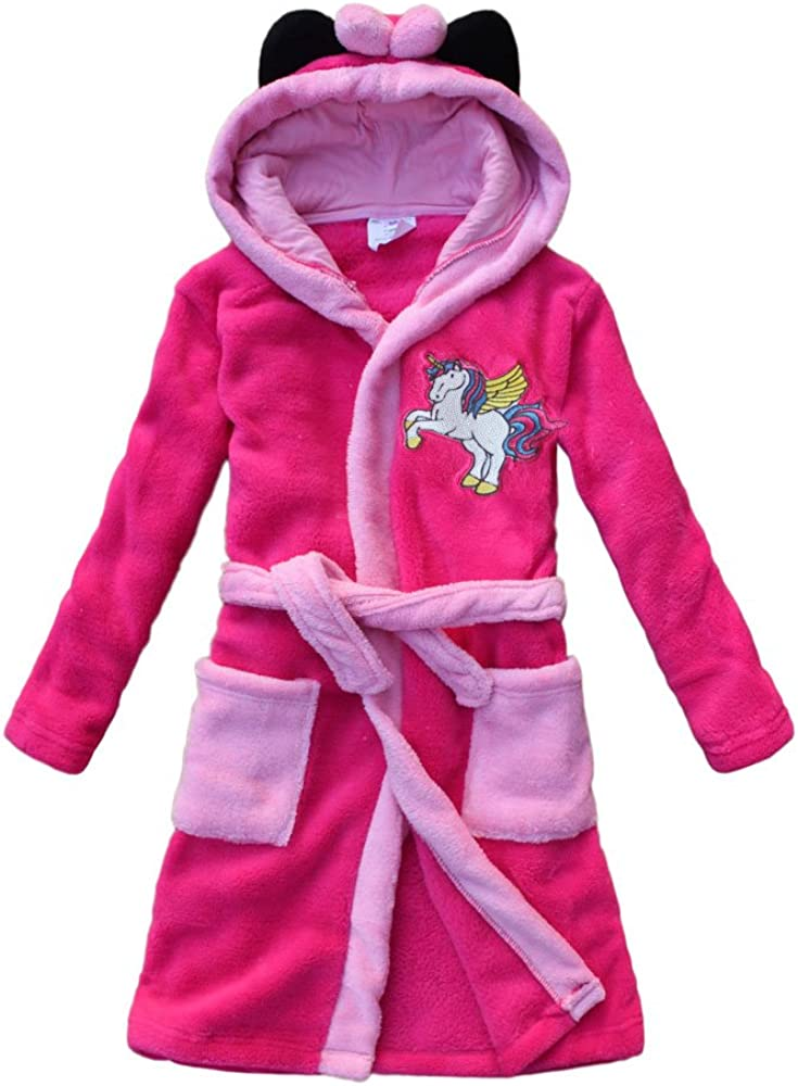 2018 Unicorn Embroidery Girls Bathrobes Children's Nightdresses Flannel Girls Gown