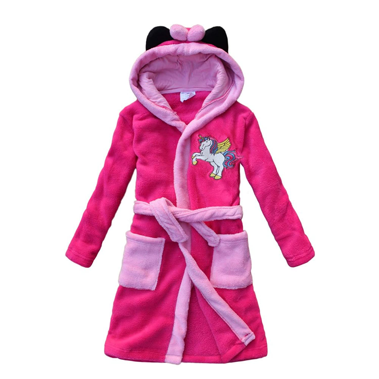 2018 Unicorn Embroidery Girls Bathrobes Children's Nightdresses Coral Cashmere Girls Gown